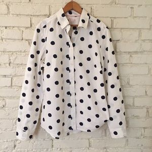 Boden Polka Dot Button Up Top